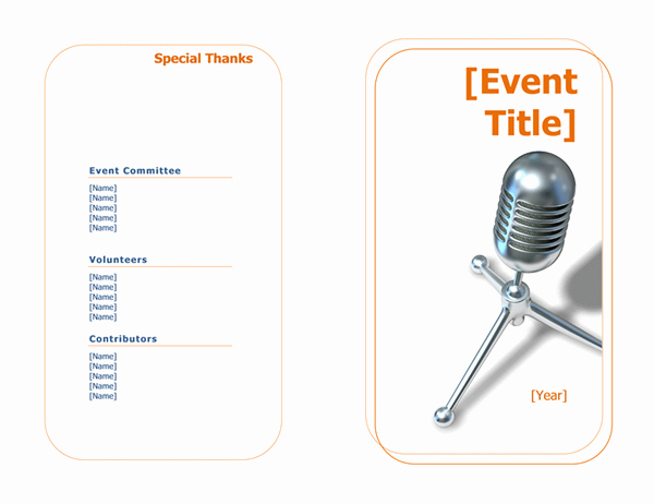 Event Program Half Fold