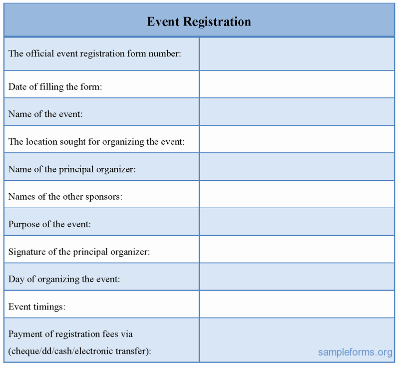 Event Registration form Sample forms