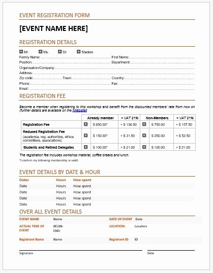 Event Registration forms & Template for Ms Word