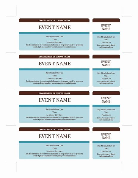 Event Tickets Templates Fice