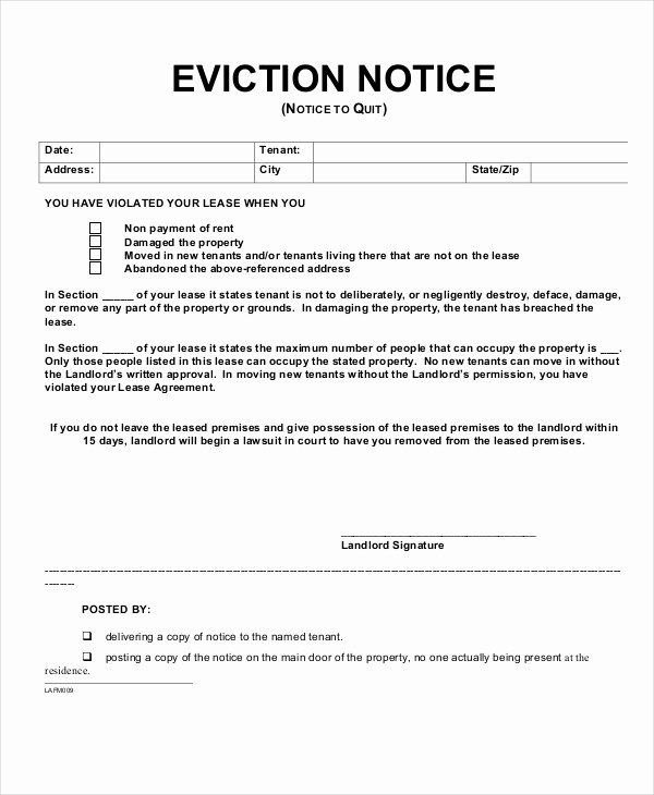 Eviction Notice 9 Free Word Pdf Documents Download