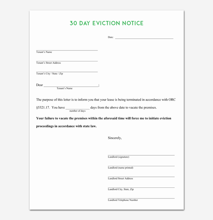 Eviction Notice Template 5 Blank Notices for Word Pdf