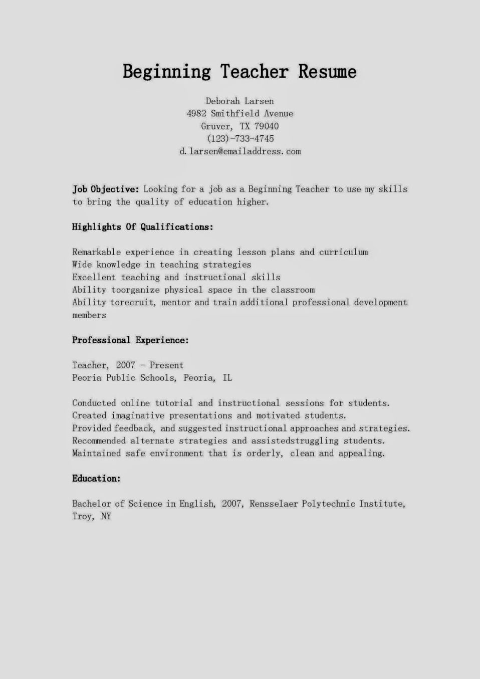 Example A Beginner Teacher Resume
