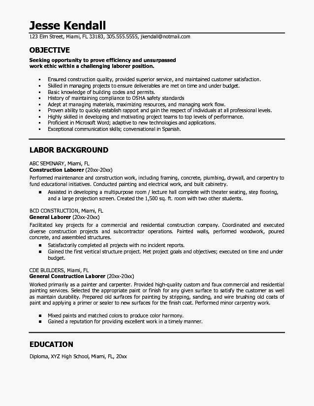 Example A General Laborer Resume