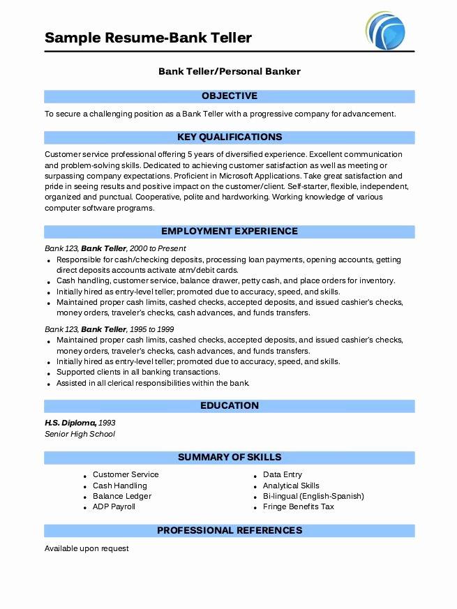 Example Bank Teller Resume