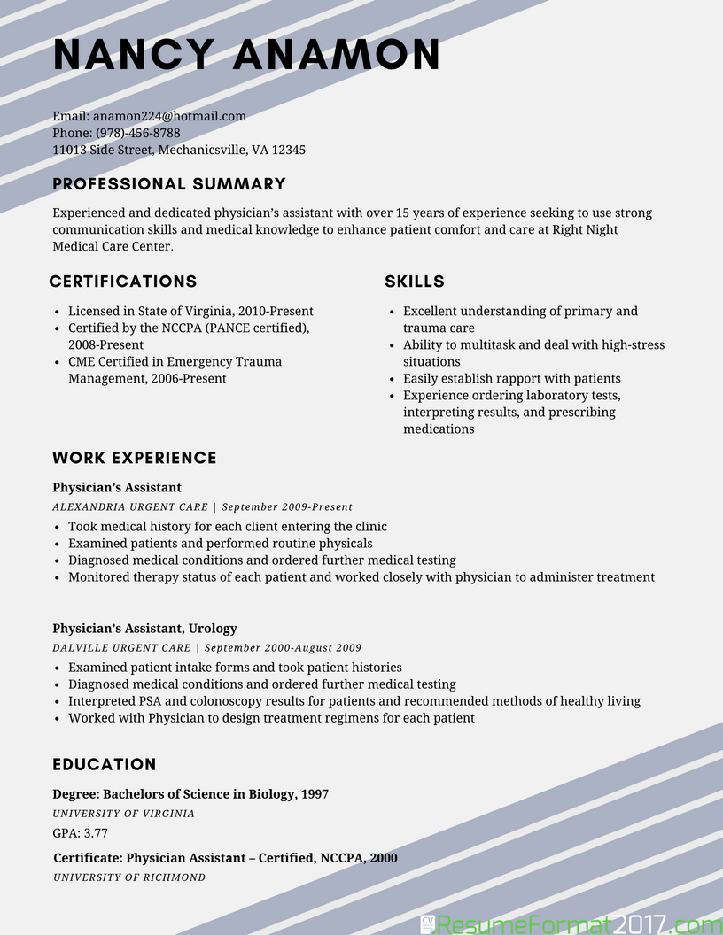 Example Best Resume format 2018