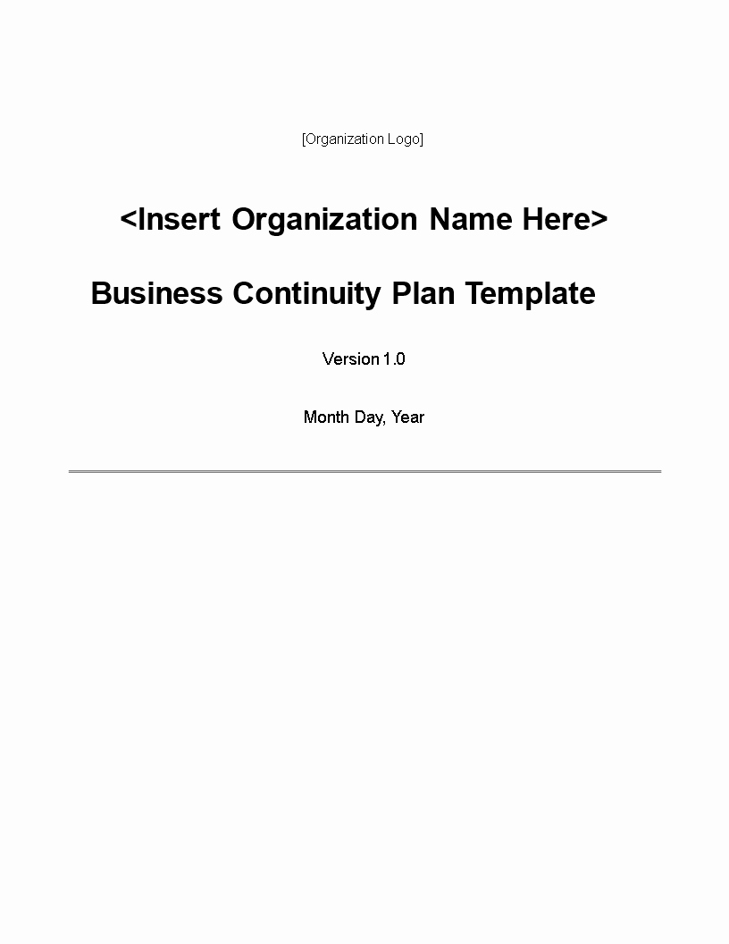 Example Business Continuity Plan New Simple Business