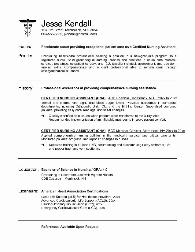 Example Cna Certified Nursing assistant Resume Free Sample
