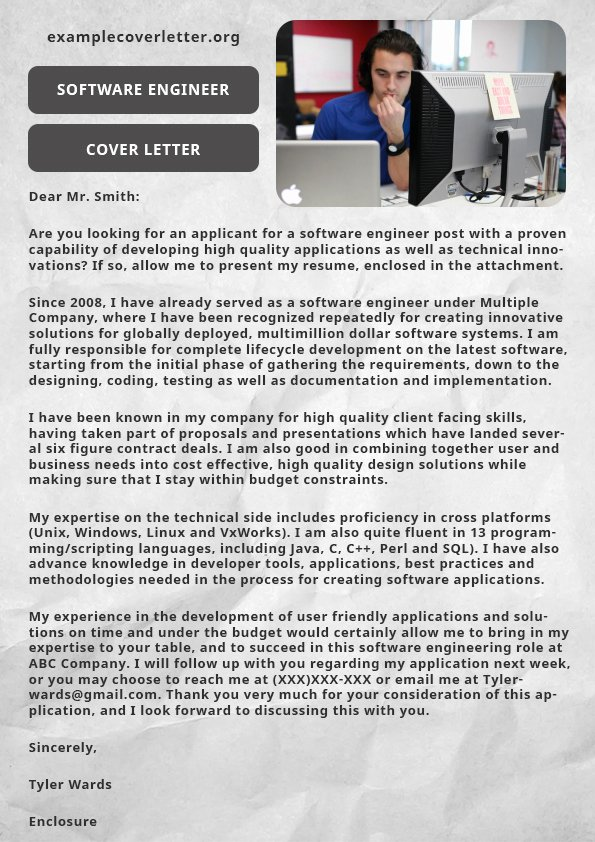 Example Cover Letter for Electrical Engineer