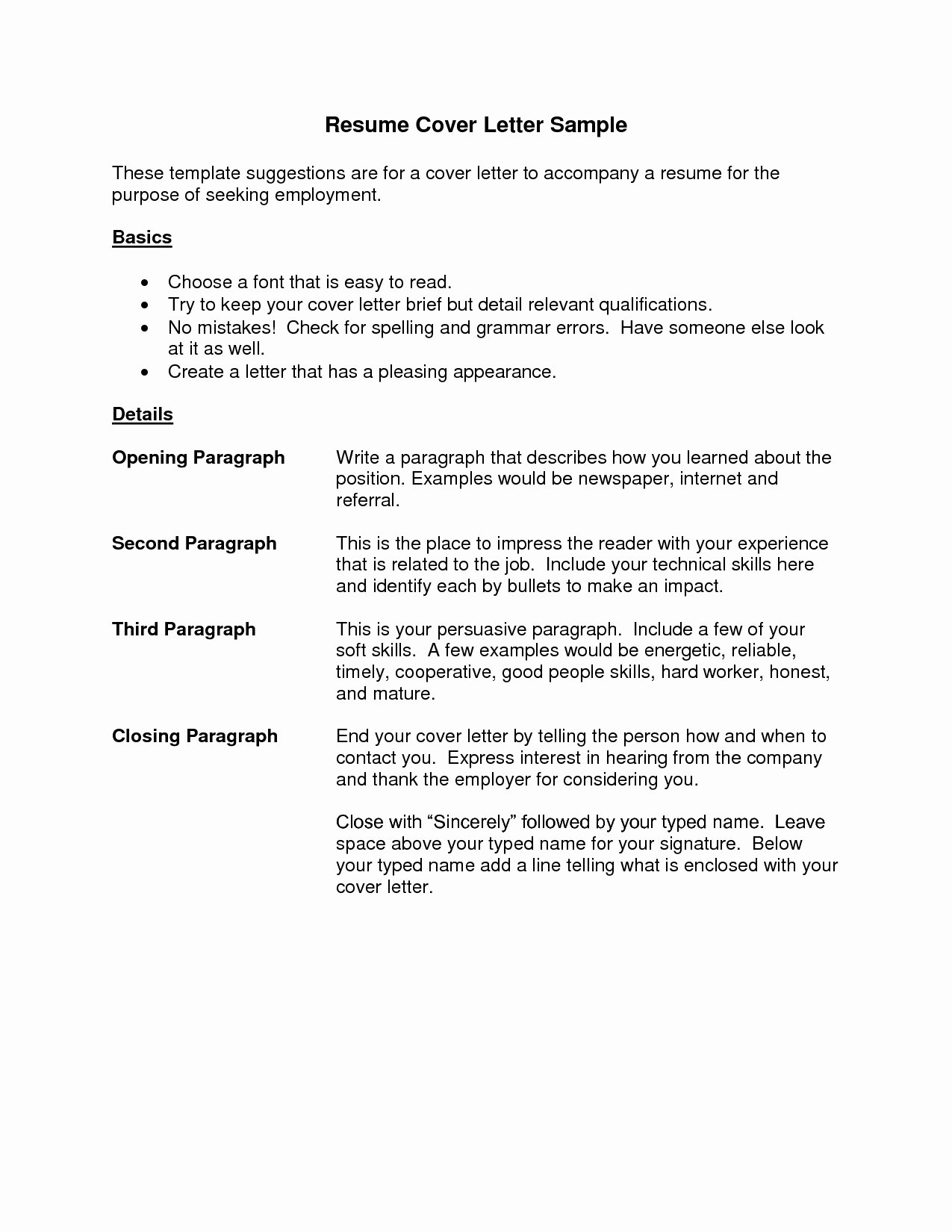 Example Cover Letter for Resume Template