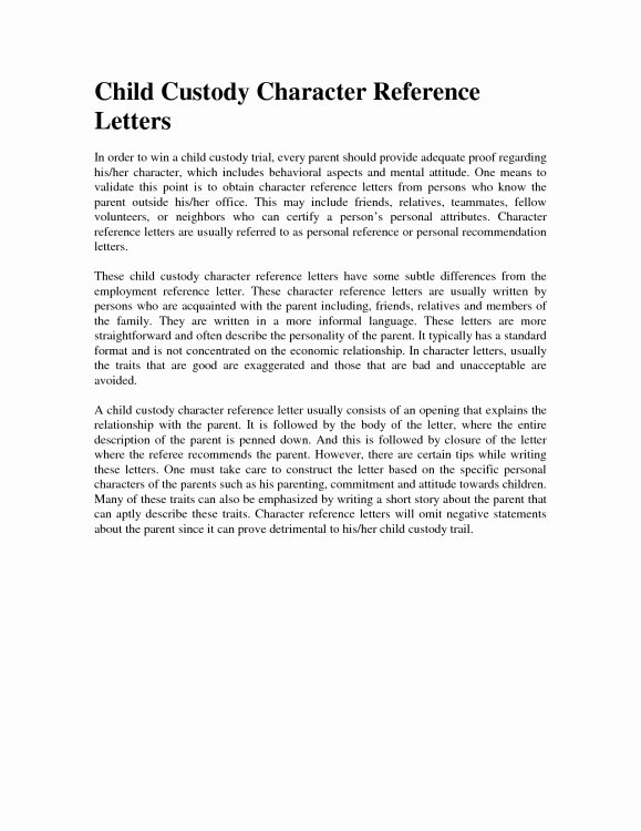 Example Declaration Letter for Child Custody In California