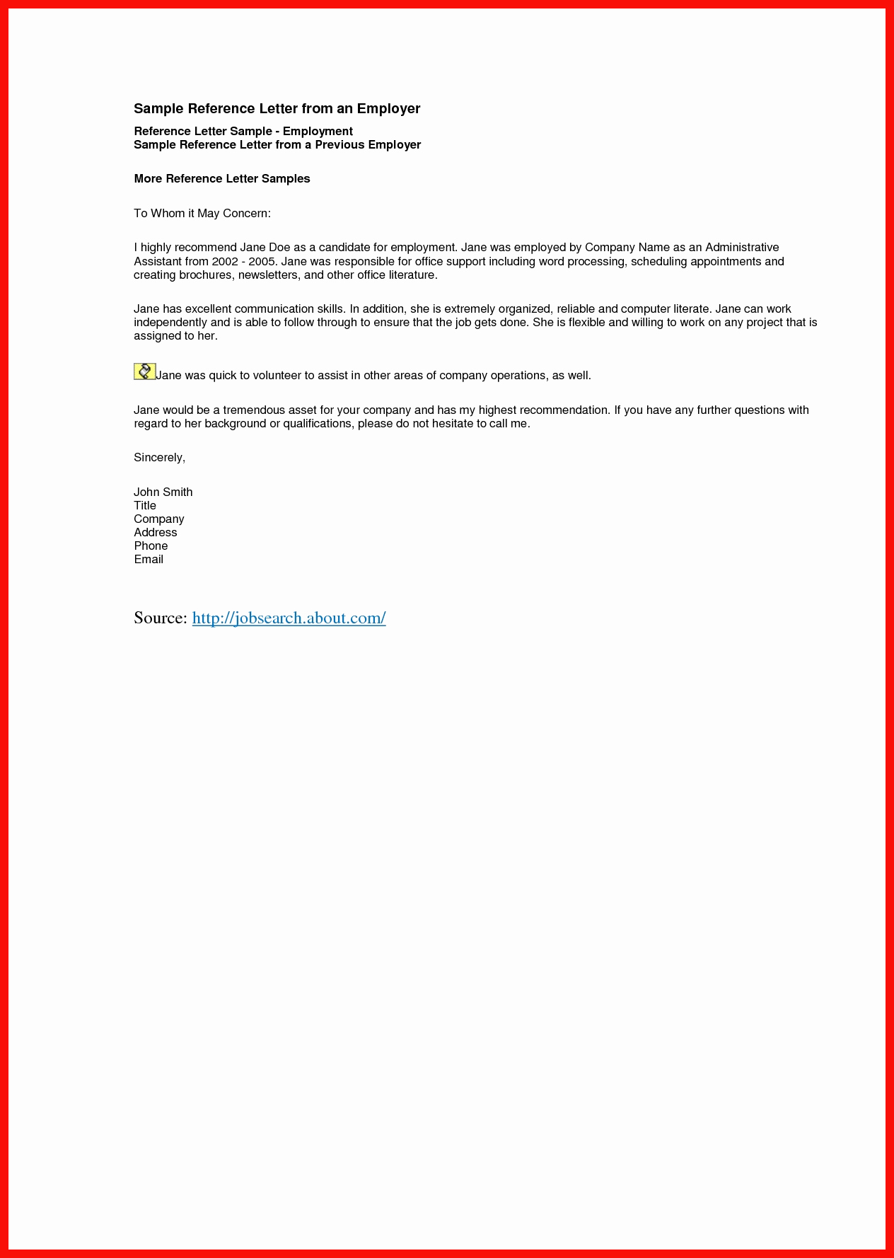 Example Employment Letter