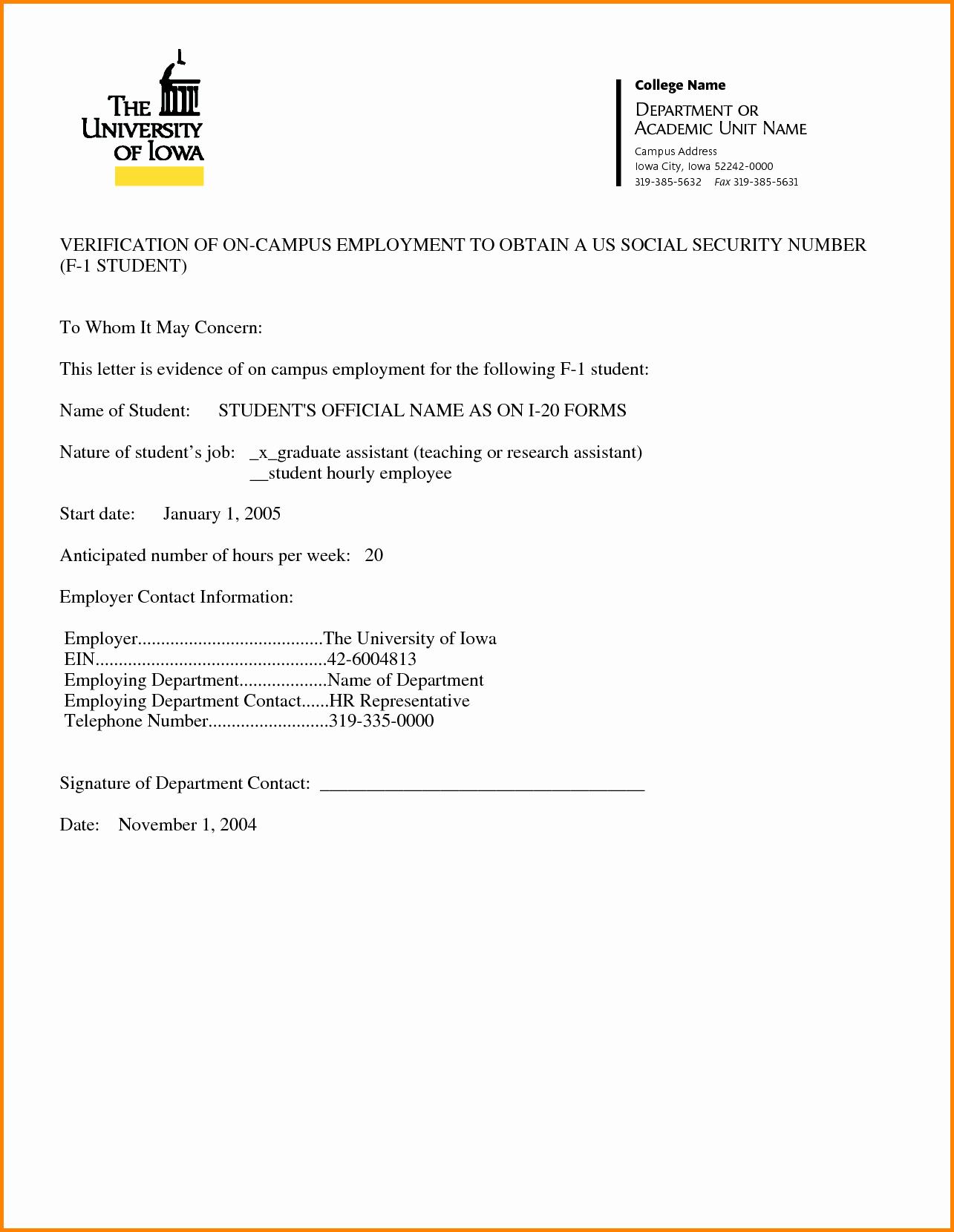 Example Employment Verification Letter