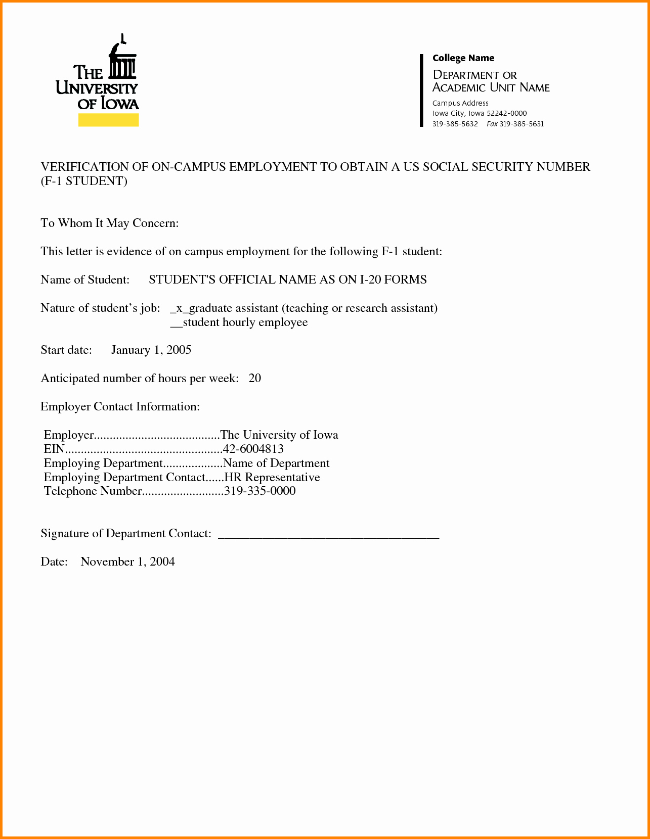 Example Employment Verification Letter
