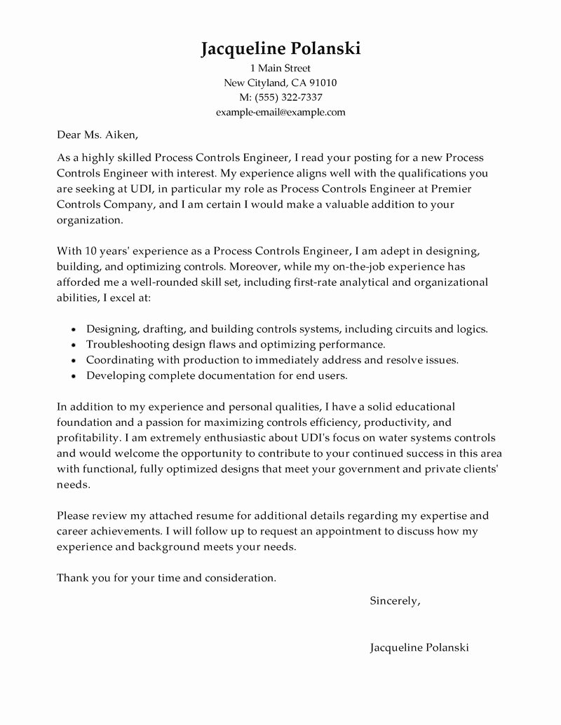 Example Government Cover Letter