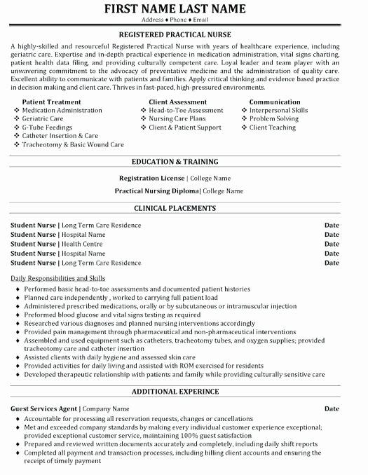 Example Lpn Resume Licensed Practical Nurse Resume