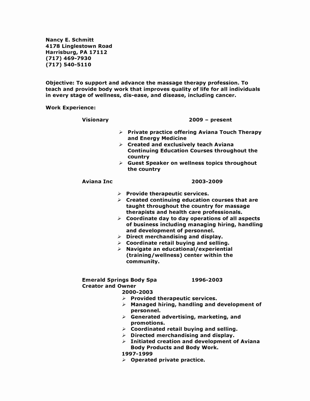 Example Massage therapist Objective – Perfect Resume format