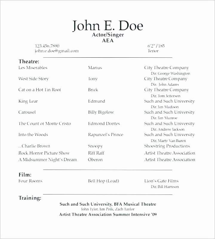 Example Of Acting Resume – Dew Drops