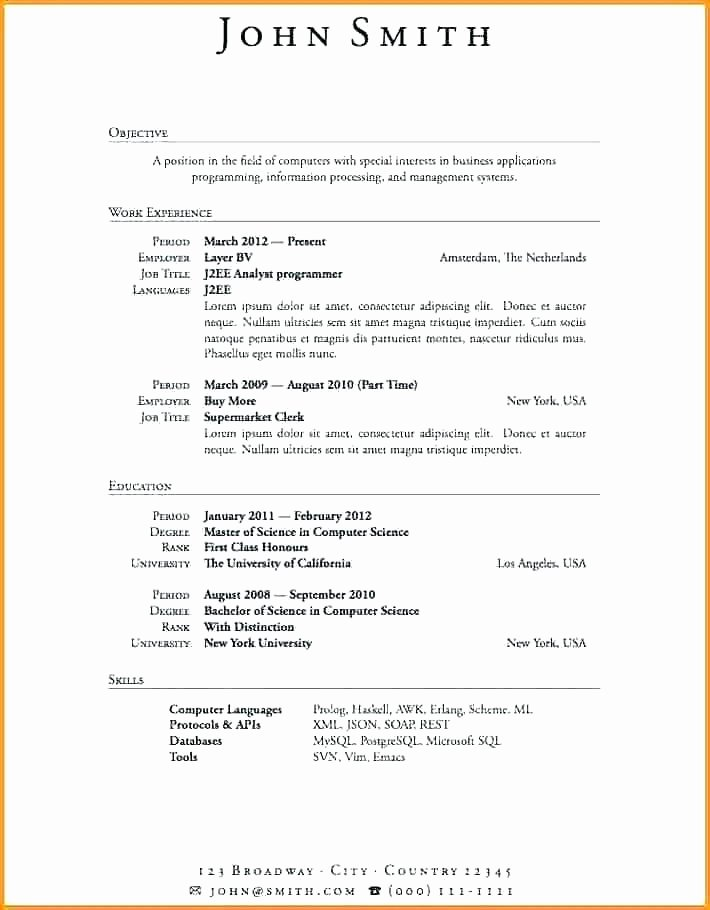Example Of Resume with No Work Experience – orlandomoving