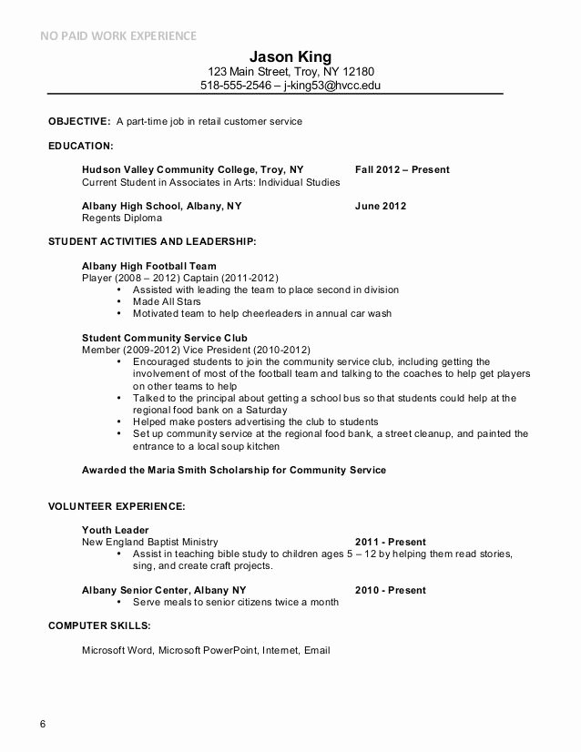 Example Part Time Job In Retail Customer Service Resume