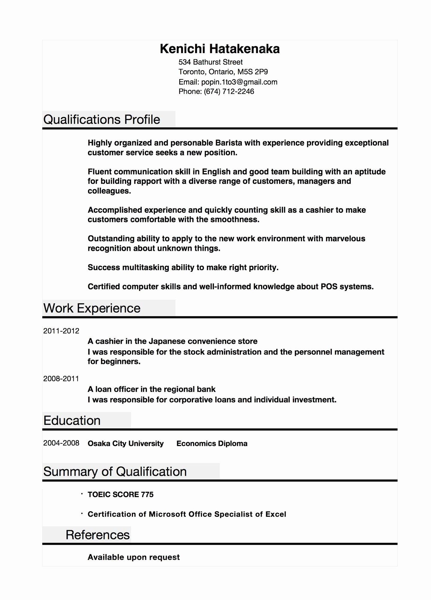 Example Profile Resume Sarahepps