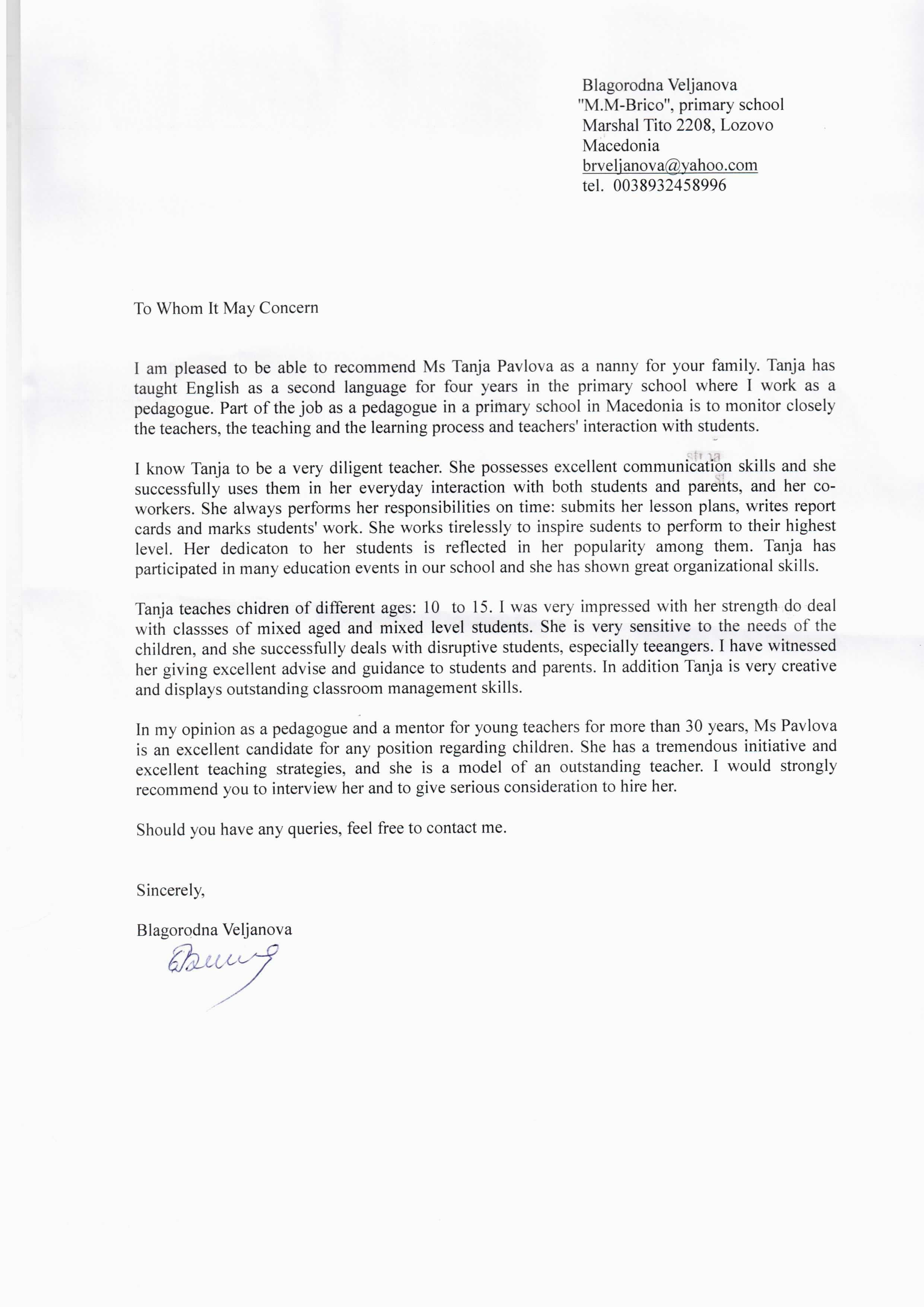 Example Reference Letter for Nanny Oshiborifo