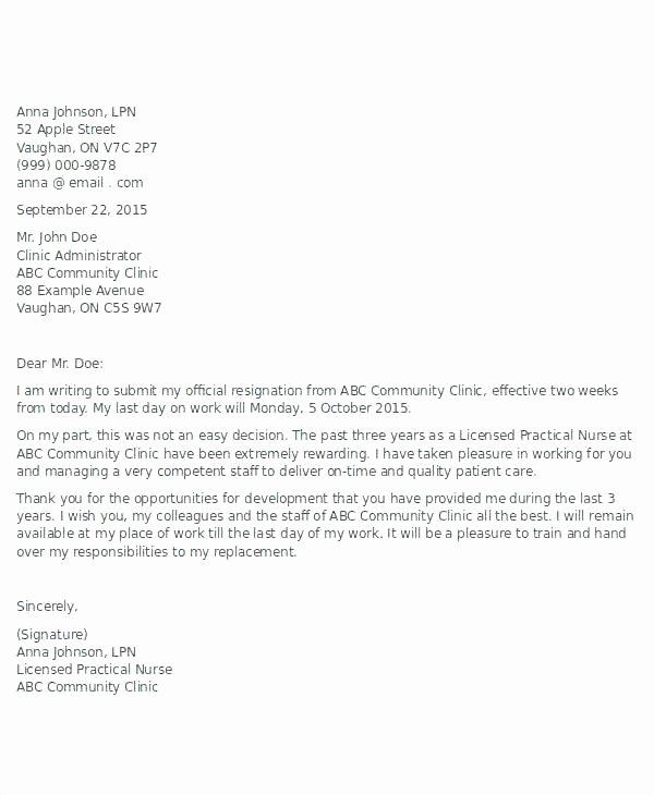 Example Resignation Letter Staff Nurse Nursing Job Letters