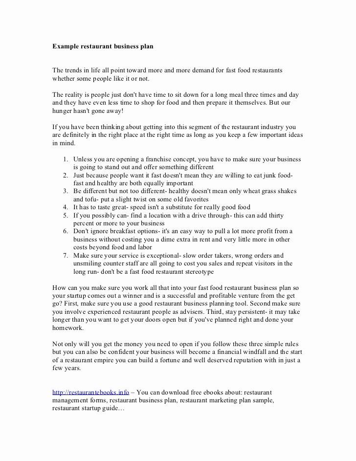 Example Restaurant Business Plan