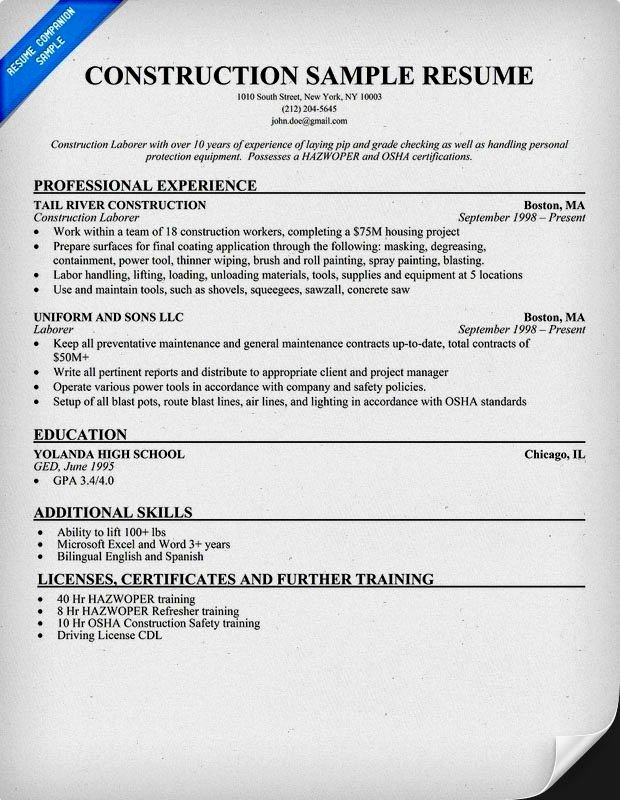 Example Resume Construction Worker