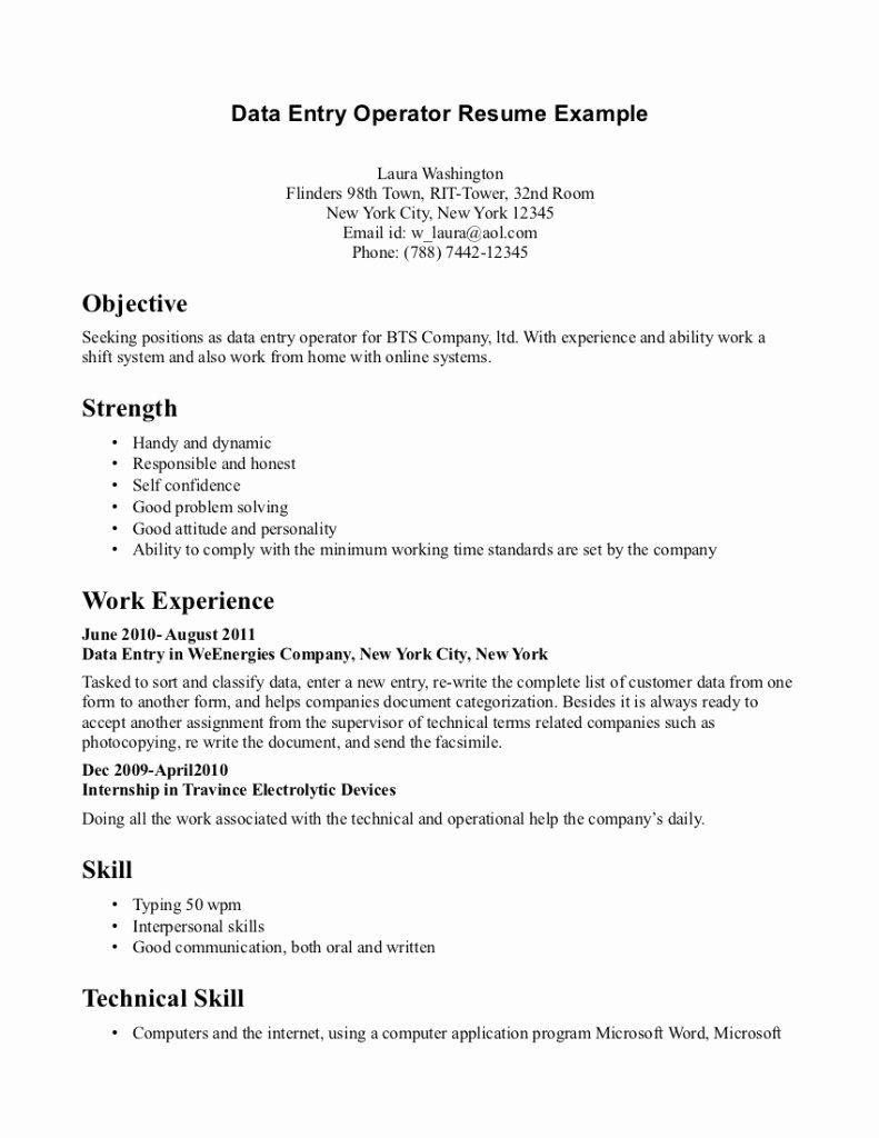 Example Resume Data Entry Clerk