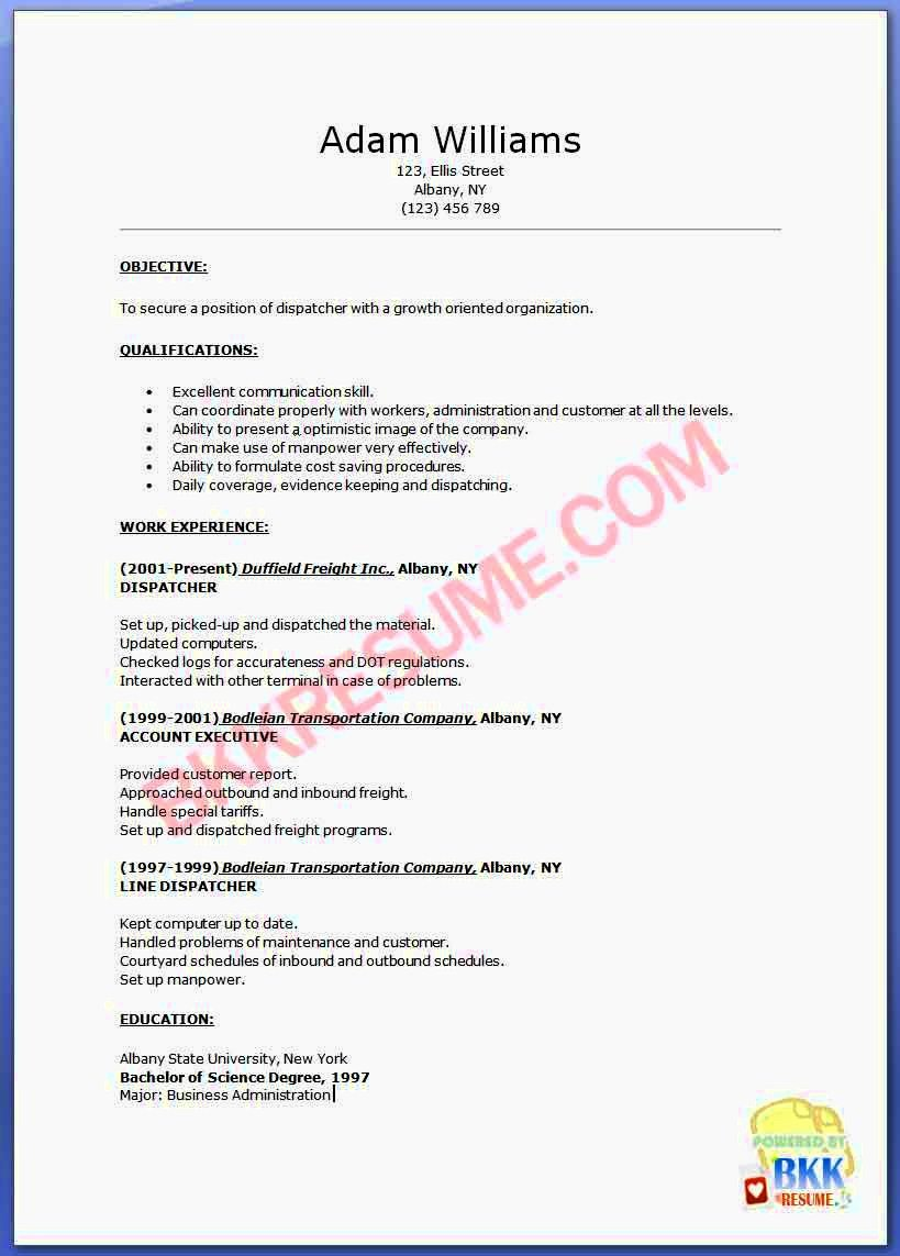 Example Resume Dispatcher Resume Template