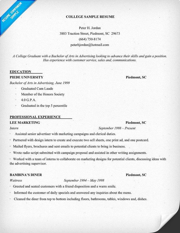 Example Resume Example Resume College Student