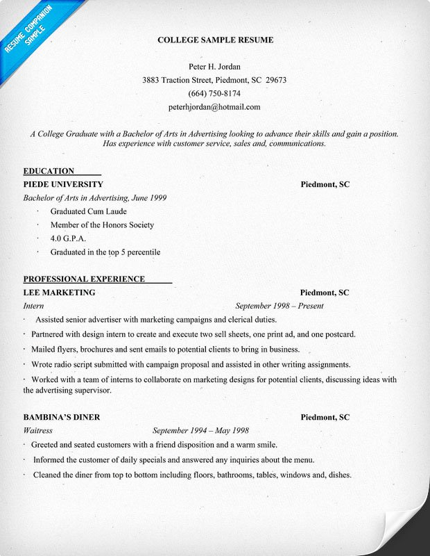 Example Resume Example Resume College Student