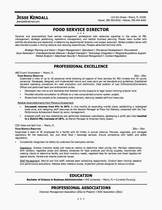 Example Resume Food Service Resume Template