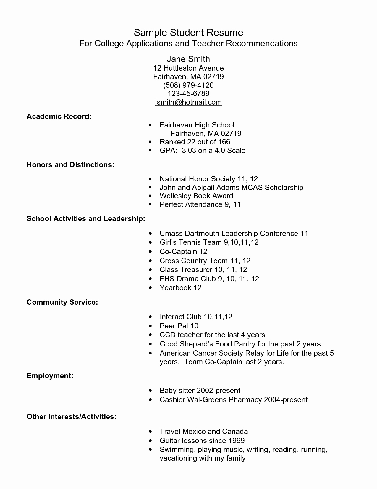 Example Resume for High School Students for College