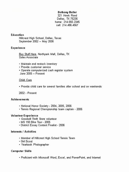 Example Resume High School Student Best Resume Collection