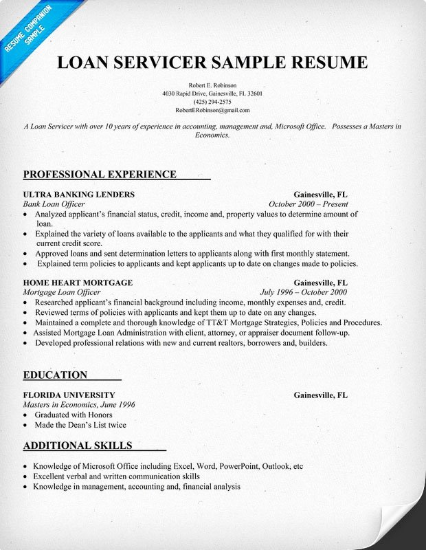 Example Resume Loan Ficer Resume Sample