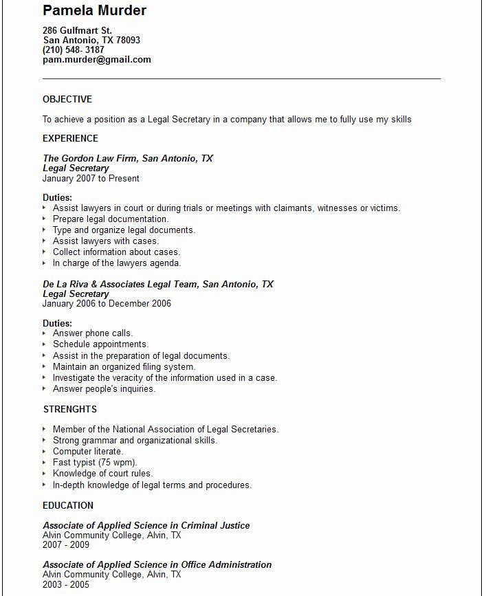 Example Resume March 2015