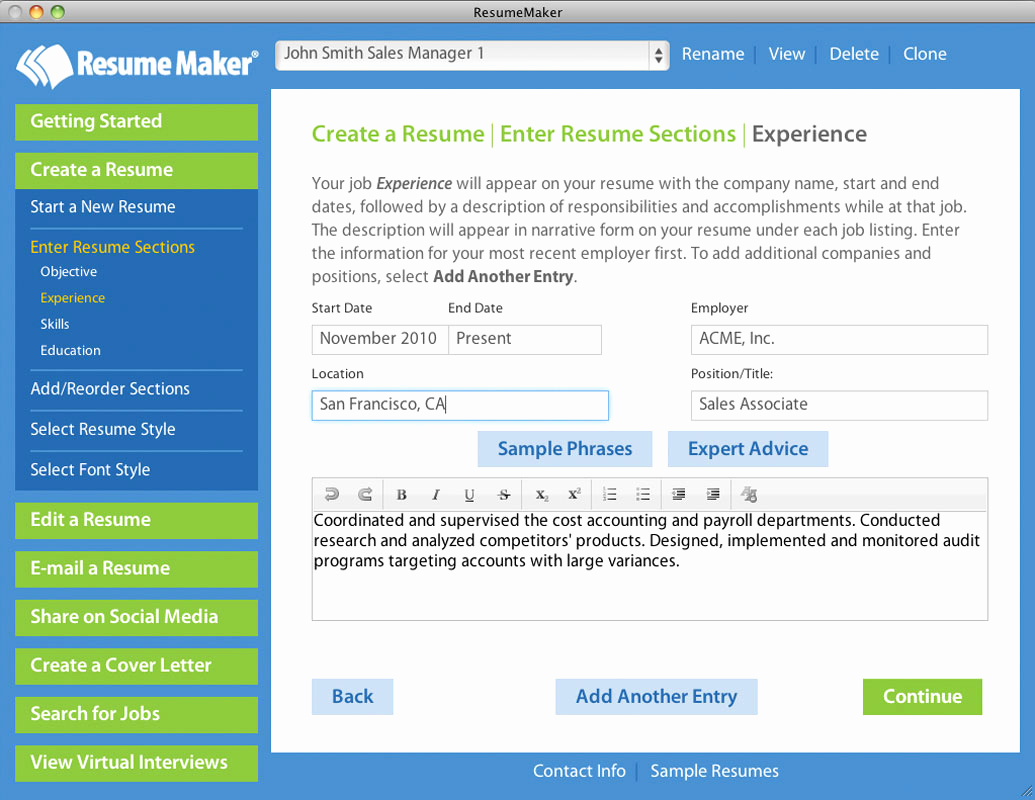 Example Resume Resume Builder Mac Os X