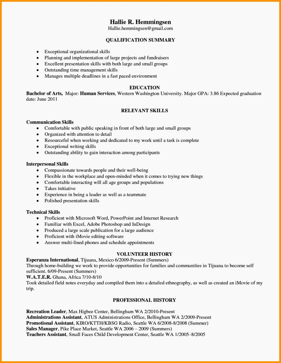 Example Resume Skills Resume Template
