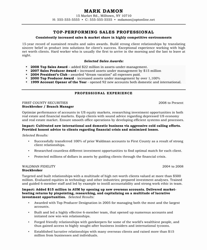 Example Resume Template for Sales Professional with