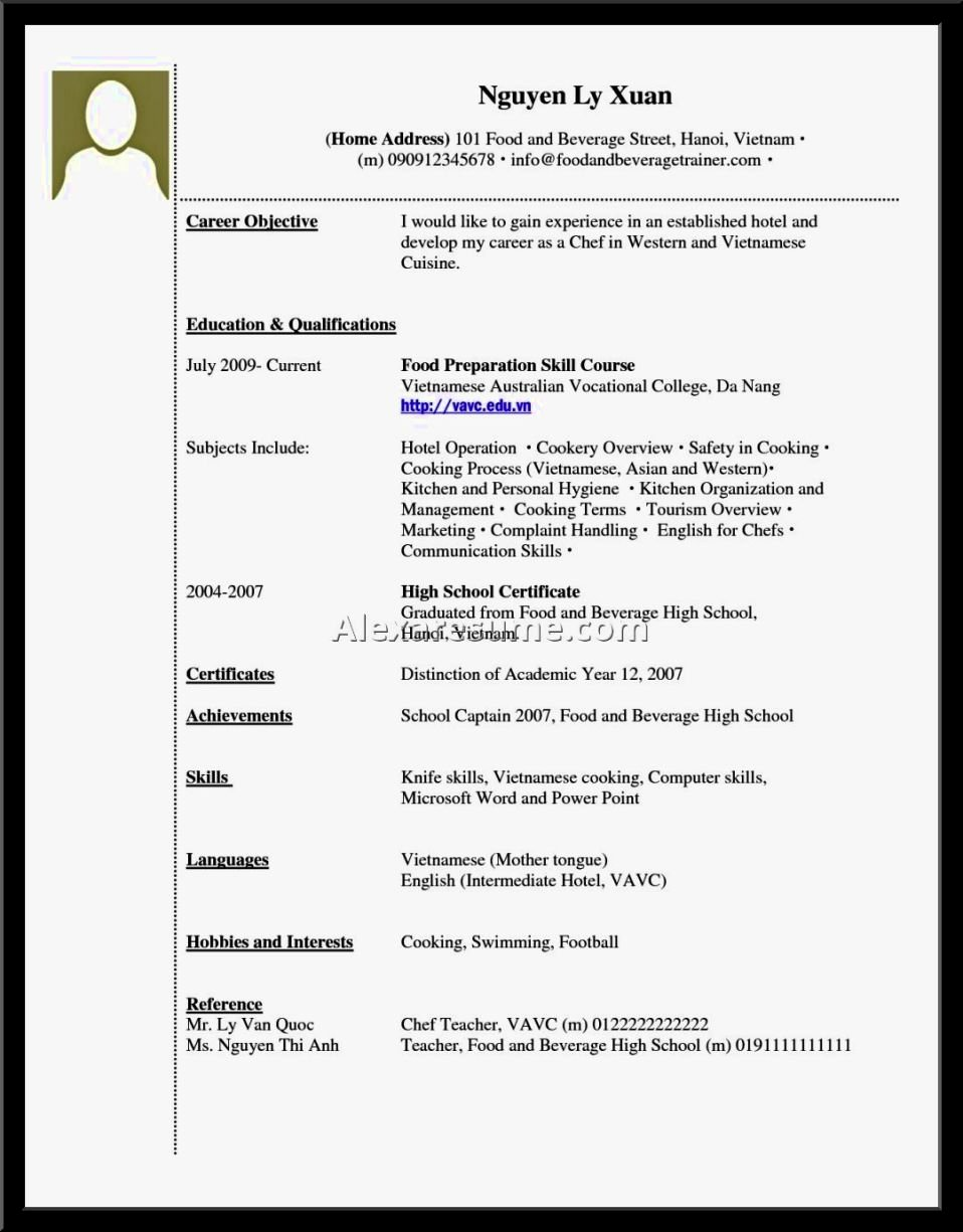Example Resume to Apply Job without Experience