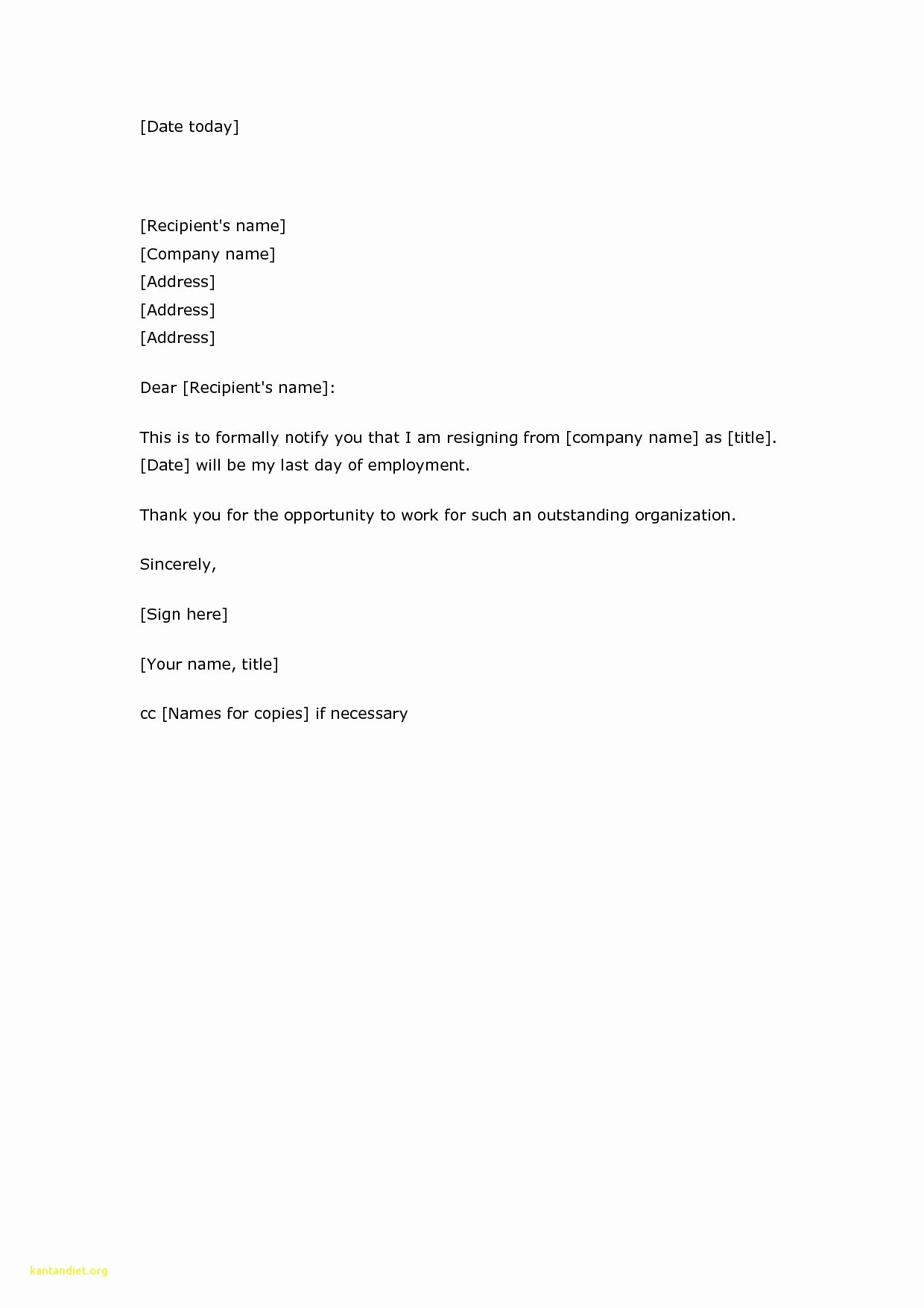Example Simple Resignation Letter Fitzjohnson