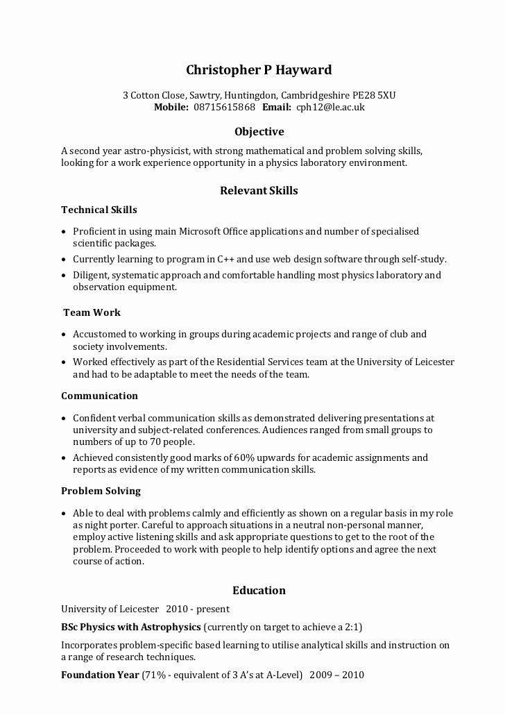 Example Skills Based Cv