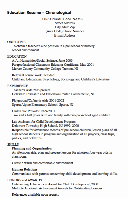 Example Teacher Aide Resume Exampleresumecv