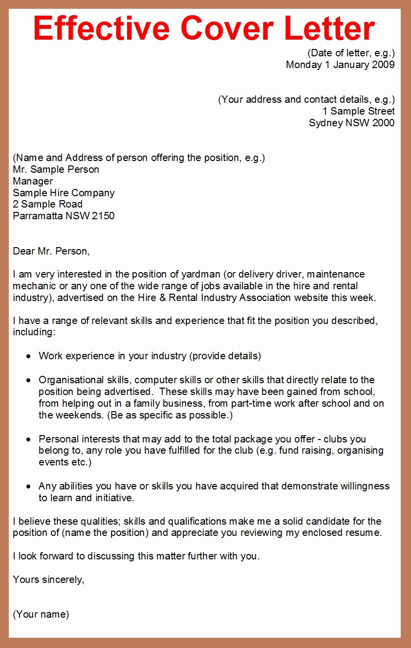 Example Writing A Cover Letter for Job Application