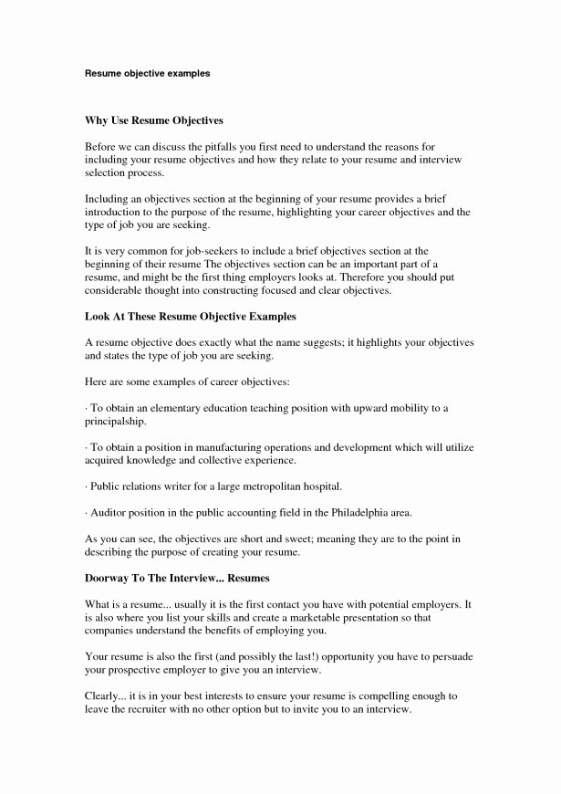 Examples A Resume Objective Objective Resume Examples