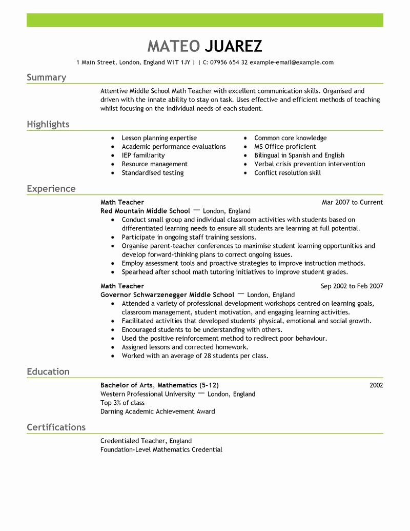 Examples Great Resumes for Teachers Resume Builder