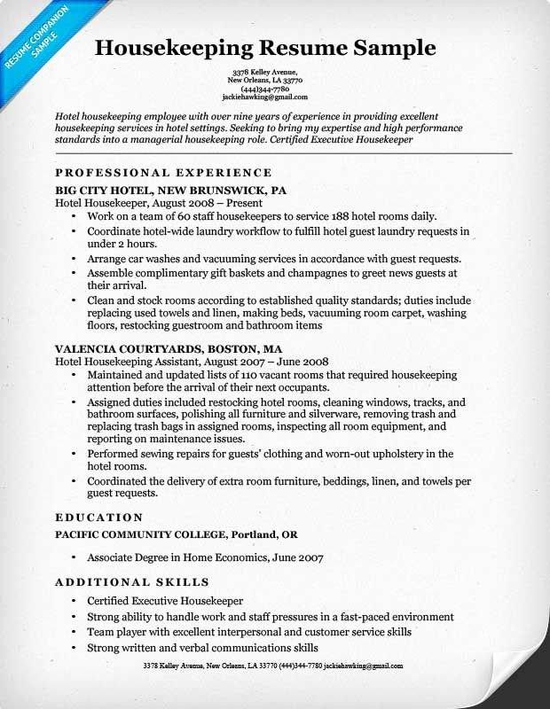 Examples Housekeeping Resumes