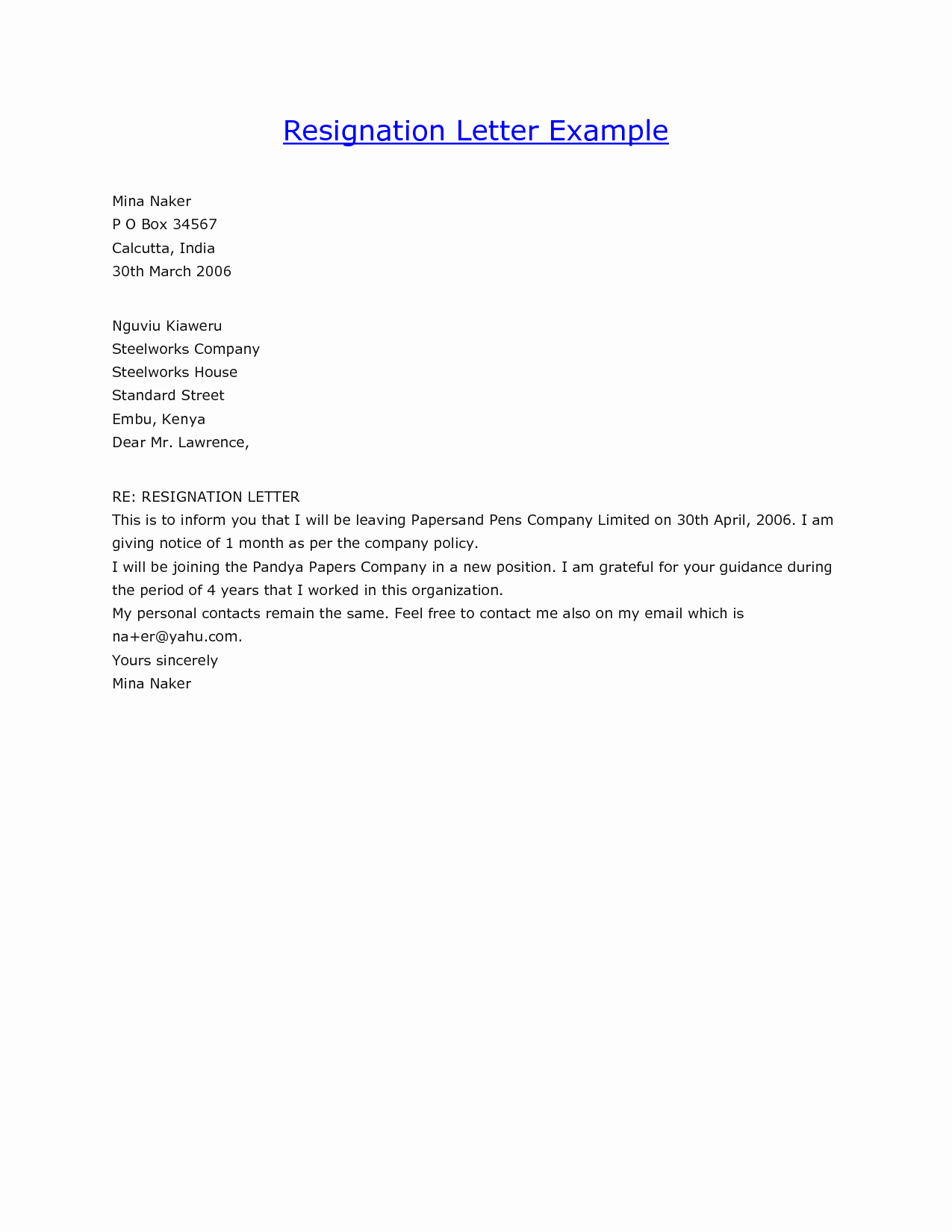 Examples Letters Resignation